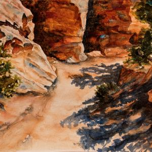 """BEND IN THE TRAIL 9""""x12"""" watercolor, $220"""