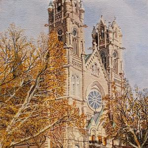 """CATHEDRAL OF THE MADELEINE 16""""x20"""" acrylic painting, $1000"""