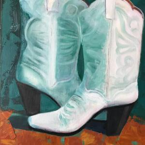 """GIRLS' NIGHT OUT 16""""x20"""" oil painting, $400"""