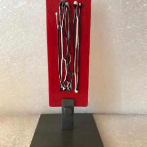 "RED PANEL WITH STRINGERS 6.5""x2"" Bullseye Glass with free formed glass stringers, $45"