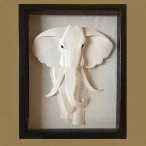 "BULL ELEPHANT 12""x15"" 2-D framed paper sculpture, $175"