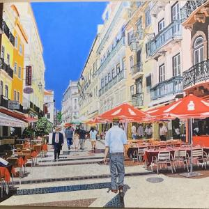 """ANOTHER DAY IN LISBON 16""""x20"""" acrylic painting, $1000"""