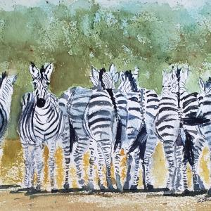 """DIRECTIONALLY CHALLENGED 8""""x15"""" watercolor, $275 matted and framed"""