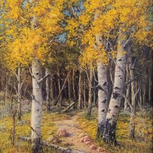 "Game Trail, 14""x16"" oil painting, $750"