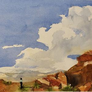 """MAYNARD DIXON'S CLOUDS 8.5""""x10.5"""" watercolor, $175 matted and framed"""