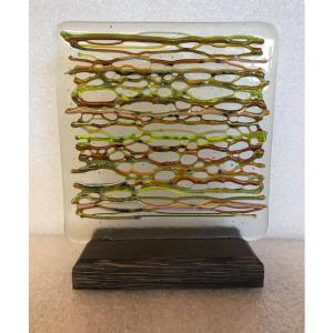 """HORIZONTAL STRINGERS 6.5""""x6.5"""" full fused Bullseye Glass with variegated colors, $70"""
