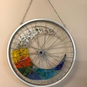 "21"" RECYCLED BICYCLE RIM with a 6mm full fused Bullseye Glass crescent insert, Commission only $630"