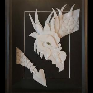"WHITECOAT, A GLASS DRAGON, 16""x13"" Bullseye white glass hand-cut, fused and polished, $495"