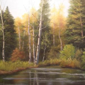 BRIGHTON LAKE oil painting, $400