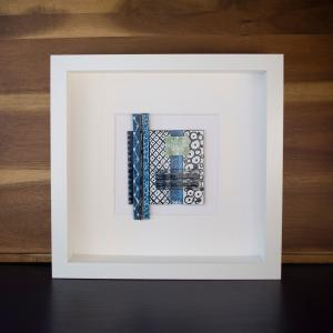 BLUE ABSTRACT fused glass and enamel