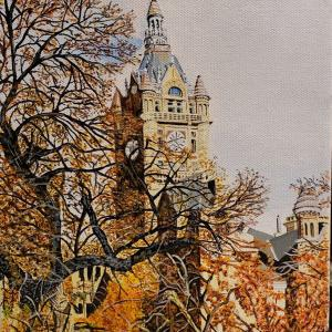 """CITY AND COUNTY BUILDING 8""""x10"""" acrylic painting, $200"""