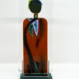 "COURAGE 5""x10"" layered and fused glass with stand, $95"
