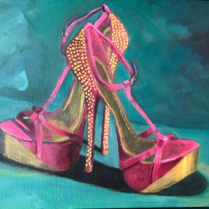 """DANCING SHOES 12""""x16"""" oil painting, $200"""