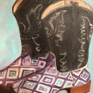 """EMMY'S BOOTS 11""""x14"""" oil painting, $200"""