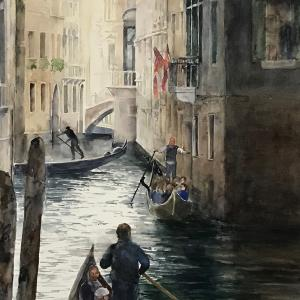 """FLOATING CITY  19""""x25"""" watercolor $1450"""