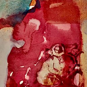 """FROG IN AN ABSTRACT 5""""x7"""" watercolor, $125"""