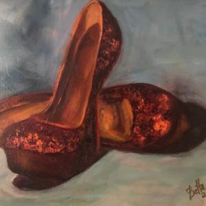 """GOLDEN SHOES 11""""x14"""" oil painting, $200"""