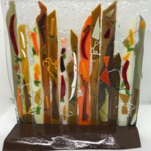 "PANDEMONIUM  5""x10"" Fused Glass with Wooden Stand, $85.00"
