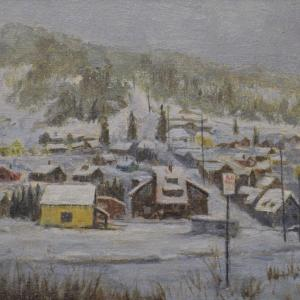 """PARK CITY FIRST SECURITY BANK BUILDING 12""""x16"""" oil painting, $495"""