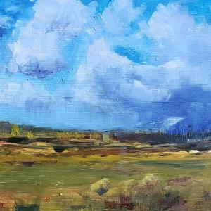 """STORMS ROLLING 6""""x8"""" Oil, $350"""