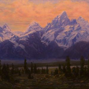 """EVENING UP THE GROS VENTRE 17""""x21"""" oil painting, $1250"""