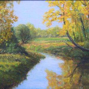 """THE FISHING HOLE 8""""x12"""" oil painting, $395"""
