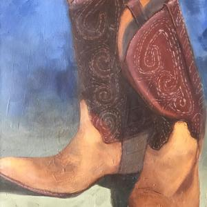 """WORKIN' BOOTS 16""""x20"""" oil painting, $400"""